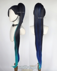 League of Legends Kaisa The Baddest More version blue teal 120cm long ponytail wig