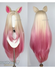 League of Legends Ahri The Baddest More versions blonde pink ombre cosplay wig