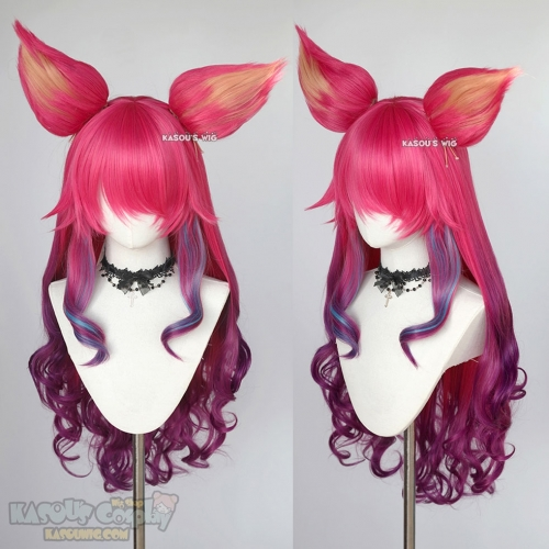 League of Legends Ahri Spirit Blossom pink purple ombre curly cosplay wig