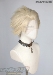 Lace Front>> Light Creamy Blonde all back spiky synthetic cosplay wig LFS-1