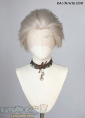 Lace Front>> Sanemi Shinazugawa Demon Slayer Pearl White all back spiky synthetic cosplay wig LFS-1