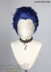 Lace Front>> Royal Blue all back spiky synthetic cosplay wig LFS-1