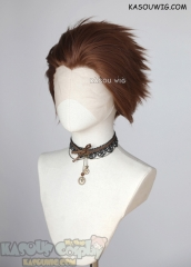 Lace Front>> Walnut Brown all back spiky synthetic cosplay wig LFS-1