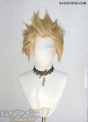 Lace Front>>Honey Butter Blonde all back spiky synthetic cosplay wig LFS-1