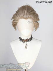 Lace Front>> Ash Blonde all back spiky synthetic cosplay wig LFS-1