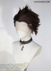 Lace Front>> Bistre Brown all back spiky synthetic cosplay wig LFS-1