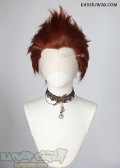 Lace Front>> Auburn Red all back spiky synthetic cosplay wig LFS-1