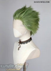 Lace Front>> Moss Green all back spiky synthetic cosplay wig LFS-1