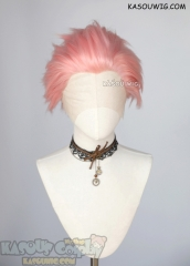 Lace Front>> Light Pink all back spiky synthetic cosplay wig LFS-1