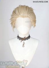 Lace Front>> Light Blonde all back spiky synthetic cosplay wig LFS-1