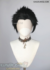 Lace Front>> Jet Black all back spiky synthetic cosplay wig LFS-1