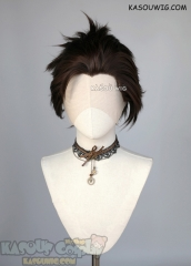Lace Front>> Deep Brown all back spiky synthetic cosplay wig LFS-1