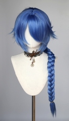 [Clearance Item]  85cm long braided blue cosplay wig