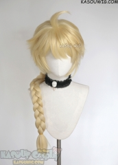 Genshin Impact Aether 80cm long blonde braided cosplay wig