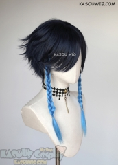 Genshin Impact Venti short deep blue flippy wig with dyed braids