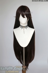 Genshin Impact Amber deep brown 100cm long straight wig with pre-cut bangs
