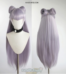 League of Legends KDA Evelynn 100cm long silver lilac straight wig with rolls