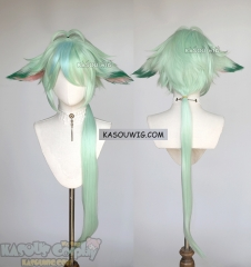 Genshin Impact Sucrose 95cm long light green layered wig with ears