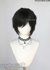 "S-1 / KA031A>>31cm / 12.2"" short natural black layered wig, easy to style,Hiperlon fiber"
