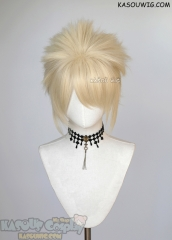 "S-5 SP17 31cm / 12.2"" short light cream blonde spiky layered cosplay wig"