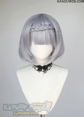 Genshin Impact Noelle silver lavender bob wig with clip-on braid