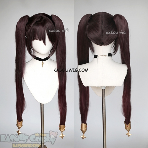 Genshin Impact Mona reddish brown ombre twintail cosplay wig