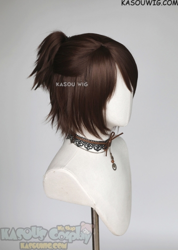 Attack on Titan S4 Hange Zoe brown half-up ponytail wig